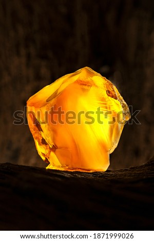 Beauty of natural raw amber. A piece of yellow opaque natural amber on large piece of dark stoned wood. Сток-фото ©