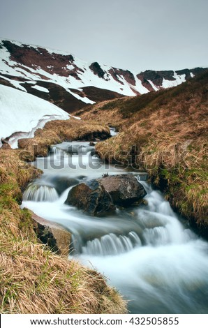 Beauty of Northern nature. Mountain river in spring landscape #432505855