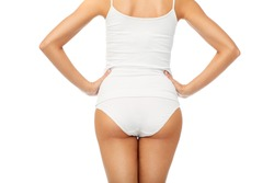beauty, people, anticellulite and bodycare concept - close up of beautiful young woman body in white underwear from back
