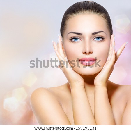 Beauty portrait beautiful spa woman touching her face for A fresh start beauty salon