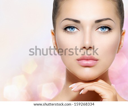 Beauty Portrait Beautiful Spa Woman Touching Her Face Perfect Fresh