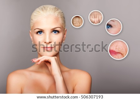 Shutterstock Beauty portrait face of happy smiling beautiful blond woman with blue eyes and smooth skin thinking of aging, aesthetics cosmetics skincare concept.