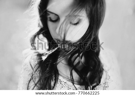 Stock Photo Beauty portrait of a very pretty young girl. Black and white art monochrome photography.