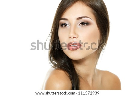 Beauty portrait of beautiful cheerful young fresh woman, face and shoulders closeup. Isolated on white background