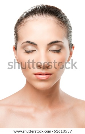 Beauty portrait of beautiful relaxed woman with perfect skin and makeup