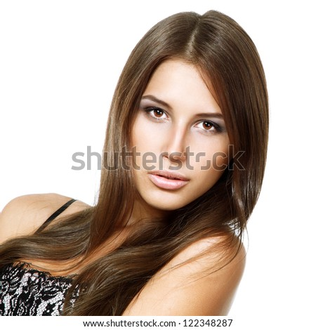 Beauty portrait of beautiful young fresh woman, face and shoulders closeup. Isolated on white background