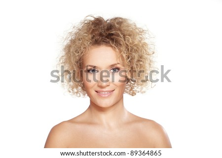 Beauty / Portrait of caucasian mid adult woman with beautiful blue eyes