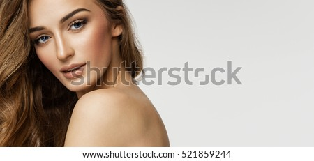 Beauty portrait of female face with natural skin - Shutterstock ID 521859244