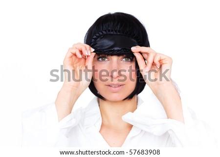 Beauty Portrait of female girl wearing sleeping eye beauty mask