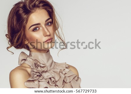 Beauty portrait of female model with natural skin