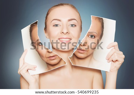 beauty portrait of woman breaking her old face photo #540699235