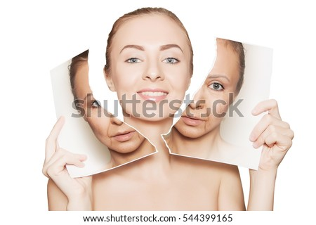 beauty portrait of woman breaking her old face photo