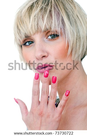 beauty portrait of woman in thirties with perfect red manicured finger nails