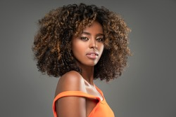 Beauty portrait of woman with afro.