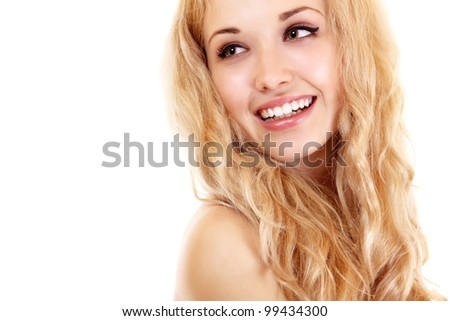 Beauty portrait of young beautiful woman happy smiling with long blond hair. Isolated on white background