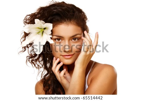 Beauty portrait of  young brunette woman over isolated white