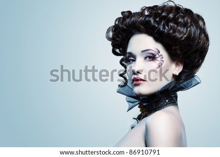 beauty portrait of young glamour beautiful halloween woman vampire ...