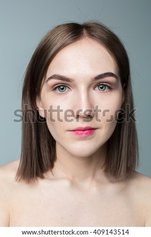 Beauty portrait of young model with middle length hair. Professional nude makeup. Green eyes. #409143514