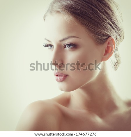 Stock Photo Beauty portrait of young woman with beautiful healthy face, studio shot of attractive girl, toned