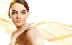Beauty portrait / photoset of attractive brunette girl on beige background