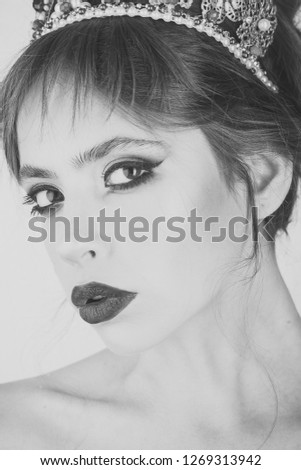Beauty queen and fashion. Beauty and fashion of pretty woman with stylish makeup on face. #1269313942