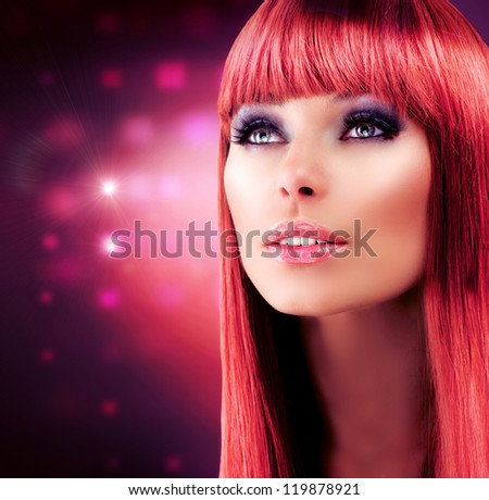Beauty Red Haired Model Portrait. Beautiful Girl with Long Healthy Hair. Stylish Glamour Woman. Makeup Face.Haircut.Hairstyle.Professional Make-up