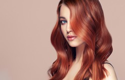 Beauty redhead girl with long  and   shiny wavy red hair .  Beautiful   woman model with curly hairstyle .