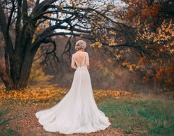 Beauty romantic young woman in long tulle lace white dress posing in fantasy autumn forest. Beautiful happy fashion bride model girl enjoying nature outdoors. Shooting from back without face. Leaves