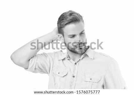 Beauty routine and self care. Handsome man. Handsome man face could representing timeless handsome macho. Well groomed guy with bristle and nice hairstyle. Male beauty. Barber hairdresser salon.
