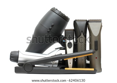 Beauty salon background - hairdressers tools isolated. Hair styling set