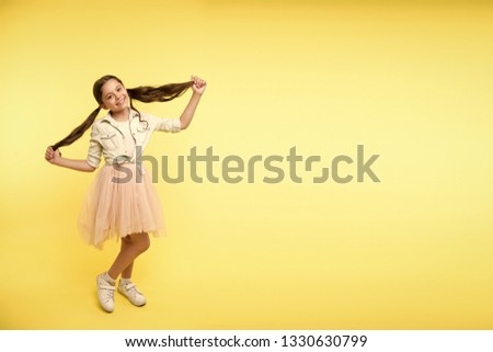 beauty salon. beauty salon for carefree children. beauty girl after fashion and hairdresser salon. beauty salon advertisement with place for copy space.