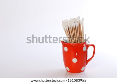 beauty salon cotton stick isolated on white