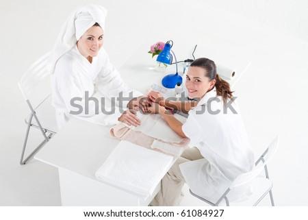 beauty salon manicure in process