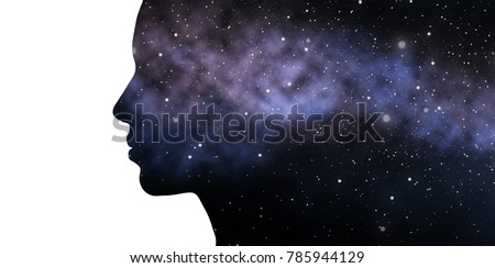 beauty, science and people concept - woman profile with space background