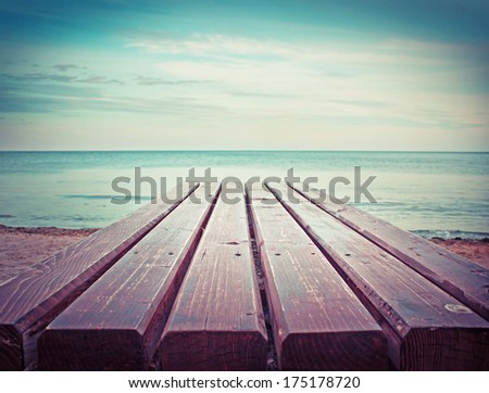 Beauty seascape in vintage colors. View from wood pier/Summer holidays background