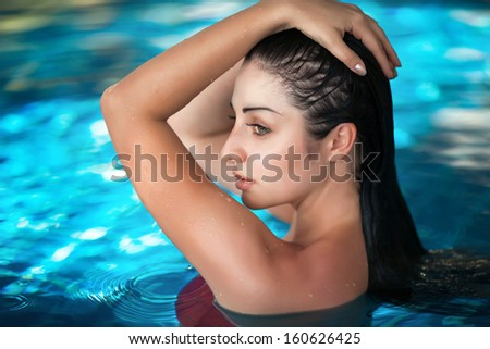 Beauty sexy woman in spa water pool. young woman beauty portrait in water. girl in swimming pool natural beauty woman. woman in swimwear.