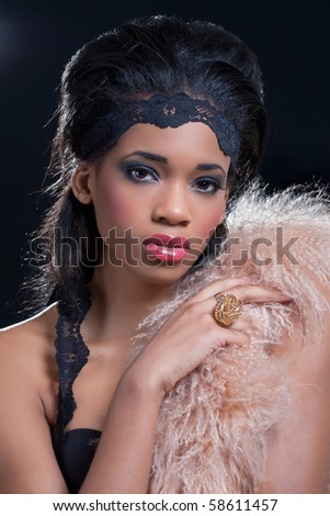 Beauty shot of a young black american woman, wearing fashionable clothes