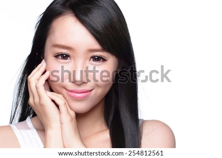 Beauty Skin care concept, Beautiful woman smile face and long hair isolated on white background, asian model