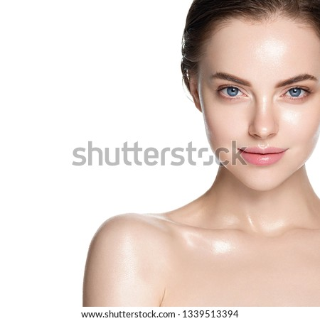 Beauty skin healthy beautiful hair woman face closeup clean skin natural makeup