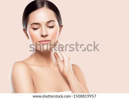 Beauty skin woman healthy hair and skin care concept over pink background  #1508819957