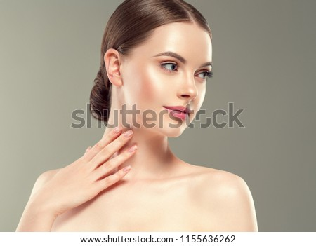 Beauty skin woman healthy skin care face close up with nali manicured hands touching face #1155636262