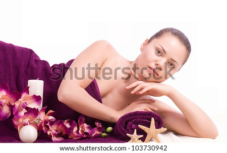 Beauty spa woman with flower on background
