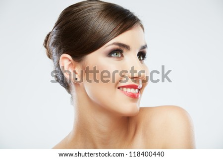 Beauty style close up woman face portrait isolated on white background
