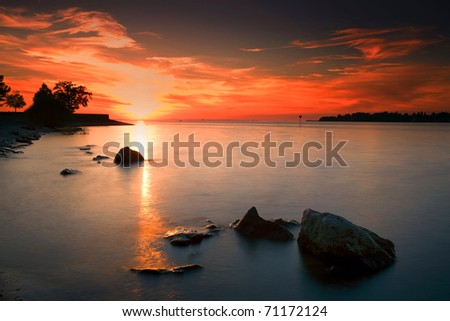 beauty sunset and water reflection