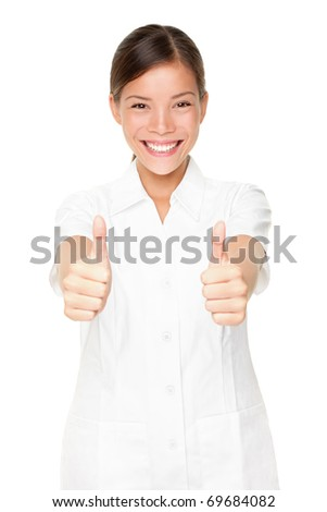 Beauty therapist spa care woman. Happy beautician giving thumbs up success sign.
