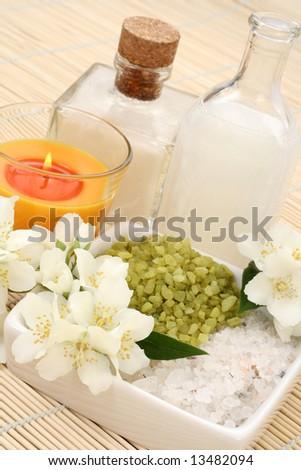 beauty treatment - jasmin flowers and cosmetics