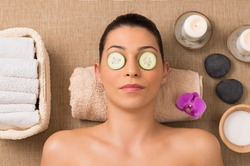 Beauty Treatment With Cucumber Slices On Eyes