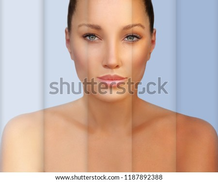 Beauty visual about suntan. Model's face divided in parts - tanned and natural.Different tones of tan #1187892388