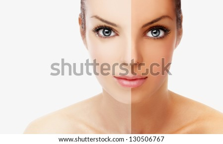 Beauty visual about suntan. Model's face divided in two parts - tanned and natural.