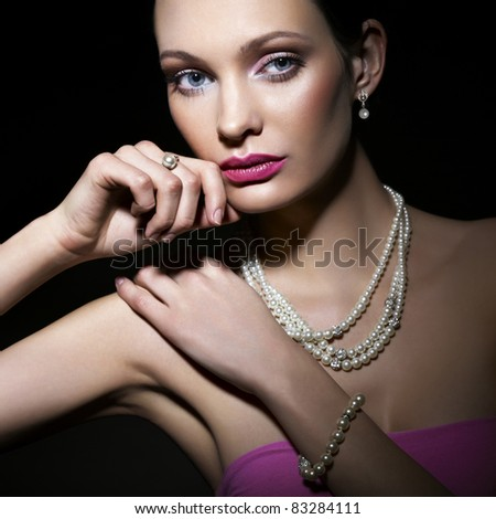 Beauty with pearl jewelry